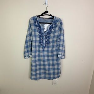 Soft Surroundings Blue Plaid Tunic Size Small